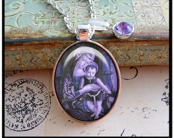 The Holy Child, altered art illustration pendants, gift boxed, Catholic pendants, Madonna and Child, religious,lavender,purple,plum