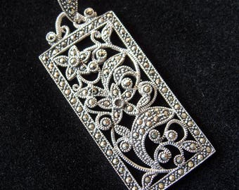 Vintage Pendant made in the USA 1950s Sterling Silver & Swiss Marcasite Floral Design Pendant with Bail