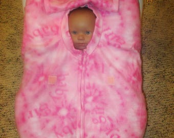 Baby Girl Pink tie dyed fleece infant baby car seat cover with full zipper & weather flap.  Great Gift. Every newborn baby needs protection.