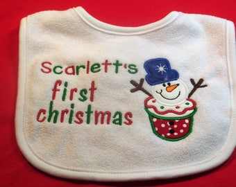Personalized First Christmas Bib Snowman Design