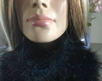 fur snood - handknitted - blue