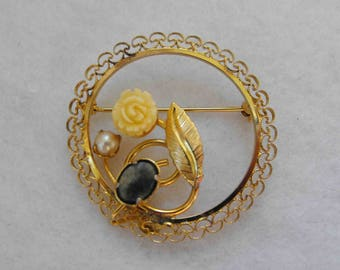 Vintage Brooch, Yellow Gold Filled, Filigree, Bone, Pearl, Jade, Signed, ca 1970s LK-84