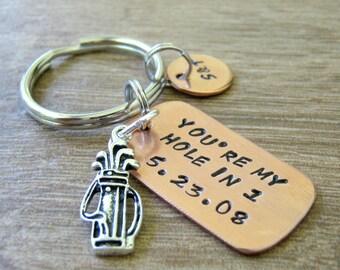 Golfer Keychain, Golfer Anniversary Keychain, You're My Hole in One, Anniversary date keychain, Boyfriend gift, golf keychain, golf gift
