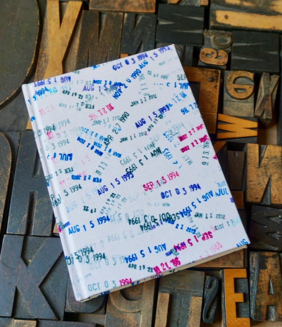 Fabric Covered Journal - Large Lined with Library Date Stamp Theme