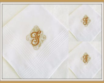 PERSONALIZED EMBROIDERED Monogrammed Man's Handkerchief set of 3