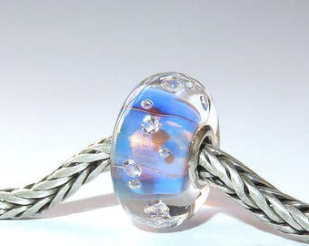 Luccicare Lampwork Bead - Fairy Diamonds - Lined with Sterling Silver