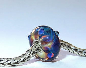 Luccicare Lampwork Bead - Magic Fantasy - Lined with Sterling Silver