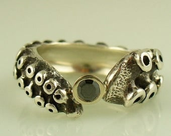 SALE SALE - Black Diamond Engagement Ring by OctopusME