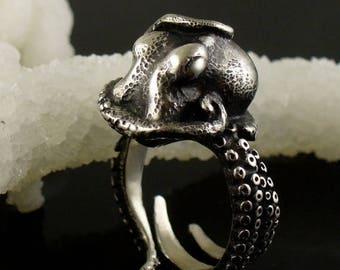 SALE SALE - Kraken Ring, Octopus Ring, Tentacle Ring, Cthuhlu, Tentacle Jewelry, Octopus Jewelry, Engagement Ring, Wedding band, OctopusME