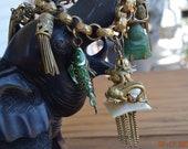 Vintage RARE Dragon Charm and Bracelet,Happy Buddha Charm,Chunky Cloisonne Enamel Articulated Fish,4 Tasseled Lanterns