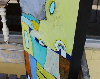 """Contemporary Art Abstract Zen Painting   cradled 12 x 24 Blues greens gray  """"The Fabric of My Life"""" by Jodi Ohl"""