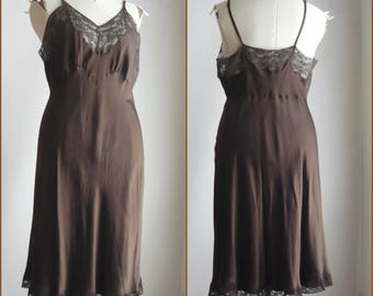 Heavenly Pure SILK Lingerie Full Slip / size 40 to 42 inch bUST / Chocolate Brown Satin Lace Bias Cut / by Fischer made USA 1950s