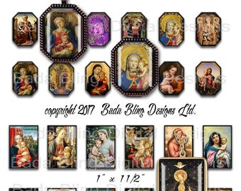 22mm x 3mm octagons, The Holy Child, Madonna and Child, INSTANT DOWNLOAD at Checkout,Catholic,religious jewelry,Mary, 1 x 1/2 images as well