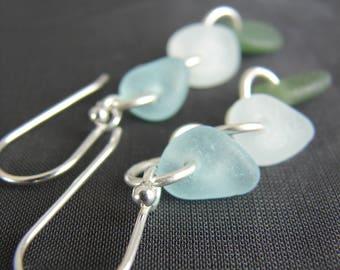 Aqua Sea Glass Earrings / seaglass jewelry / beach glass earrings / sterling silver dangles / artisan jewellery / seaside wedding /  green