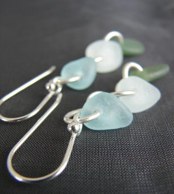 Crest sea glass earrings in aqua, white and olive
