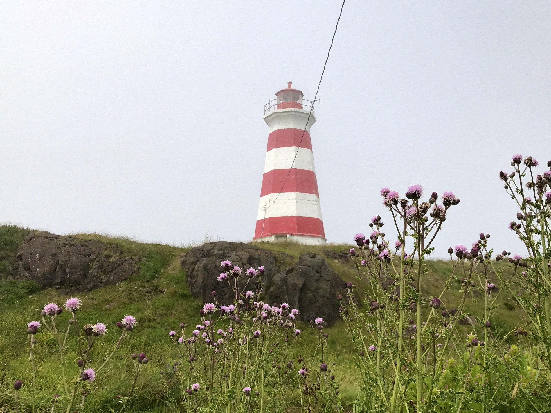Lighthouse on Brier Island, nova scotia, beach glass hunting