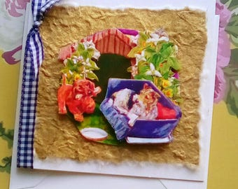 Spaniel, Terrier Greetings Birthday Card,3D decoupage All Occasion Puppies in a basket