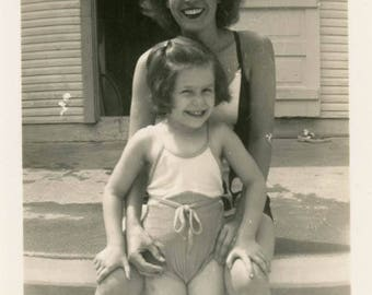 vintage photo Pretty Young Mom Holds Her Cute Little Girl Swimsuit in Pool
