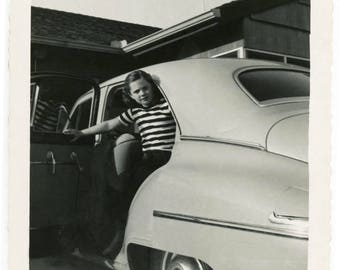 vintage photo 1950s Little Girl Abstract Stripe Reflection Car Window square snapshot