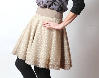 Beige tulle skirt, Flared beige skirt with dots and wide belt, Layered short skirt, womens skirts, Womens clothing, MALAM