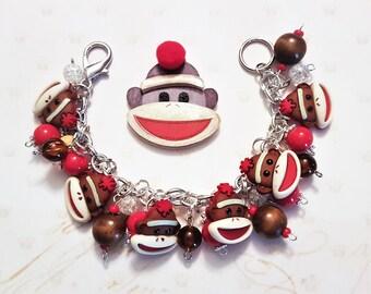 Sock Monkey Bracelet, Sock Monkey Jewelry, Chunky Charm Bracelet, Beads, Buttons, Accessory, Red, Brown, Silver, Adult, Teen, Tween, OOAK