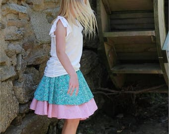 SALE PDF Sewing Pattern - Flora's Twirl Skirt - Easy to Sew Double Layer Flounced Skirt - Doll size to 14 tween