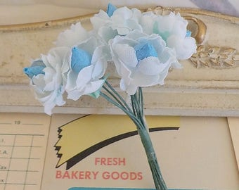 Miniature Roses Bouquet / Vintage Millinery / Cotton Linen Fabric / Blue