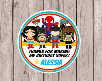 Superhero Birthday Party Favor Tags or Stickers for Boy or Girl / Spiderman, Wonder Woman, Superman, Batgirl and Superman / Set of 12
