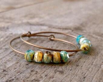 Hypoallergenic Titanium Hoop Earrings - Hoop Earrings - Boho Jewelry - Boho Hoops - Boho Earrings - Brown Earrings - Aqua Blue Earrings