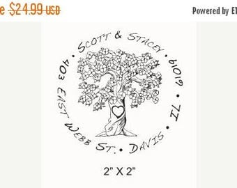 Super Summer Sale Flowering Tree with Carved Heart  Custom Return Address  Rubber Stamp AD84
