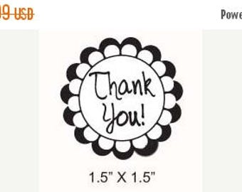 Xmas in July Thank You Scalloped Flower Border Rubber Stamp 255