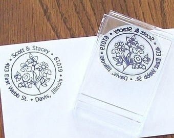 Xmas in July Custom  Return Address Stamp Round Woodcut Floral AD03