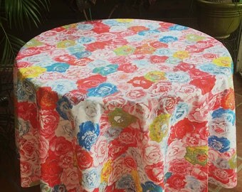French Tablecloth, Floral Tablecloth, Acrylic Coated Tablecloth, Indoor Outdoor Tablecloth, Round Tablecloth, Custom Size Tablecloths, Roses