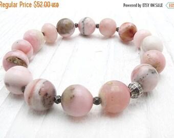 pink opal bracelet, Peruvian opal bracelet, pink gemstone bracelet, stretch bracelet, October birthstone bracelet, opal jewelry,