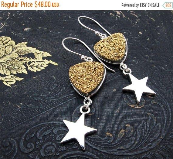 druzy earrings, gold druzy earrings, star earrings, sterling silver star earrings, holiday earrings, celestial earrings, druzy jewelry