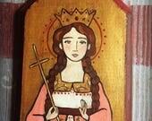 St. Barbara ORIGINAL MINI PAINTING religious art