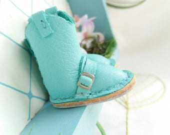 Mini Turquoise Leather Blythe Azone Pure Neemo M S Doll Riding Boots Hand Made By MizuSGarden