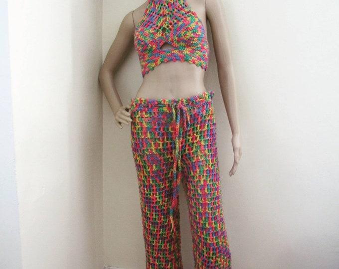 Crochet hippie pants, flared pants, festival clothing, crochet beachwear pants, rainbow crochet pant, women's pants, boho pants, lace pants