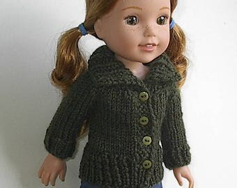 14.5 Inch Doll Clothes Knit Sweater with Big Collar Handmade to fit the Wellie Wishers and similar dolls - Olive Green Cardigan with Buttons