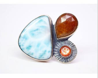 ring of myth no.2 - larimar sapphire and sunstone ring - one of a kind multistone ring