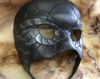 READY TO SHIP Black Snake Mask... original leather masquerade costume Harry Potter Slytherin mardi gras halloween burning man festival