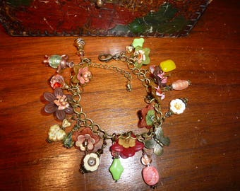 Citrus Tea Charm Bracelet, Acrylic Flowers with Sparkle, Teapot Charm, Butterfly Charm, Vintage Beads, Full of Charm and Happiness