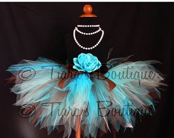 SUMMER SALE 20% OFF Girls Birthday Tutu, Turquoise Blue and Chocolate Brown, Sea Breeze, Custom Sewn Pixie Tutu, Baby, Toddler, Tween Tulle
