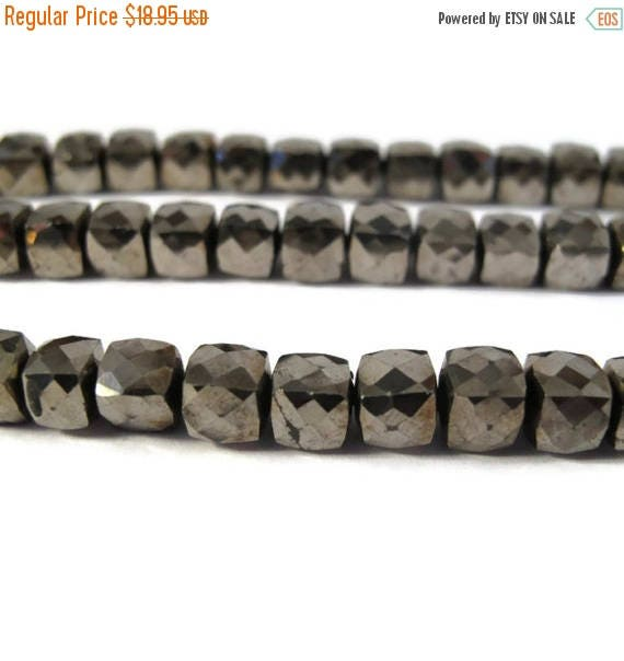 Summer SALEabration - 10 Pyrite Cubes, Ten Golden Bronze Faceted Natural Pyrite Beads, 6mm x 6mm Square Beads for Making Jewelry, Fool's Gol
