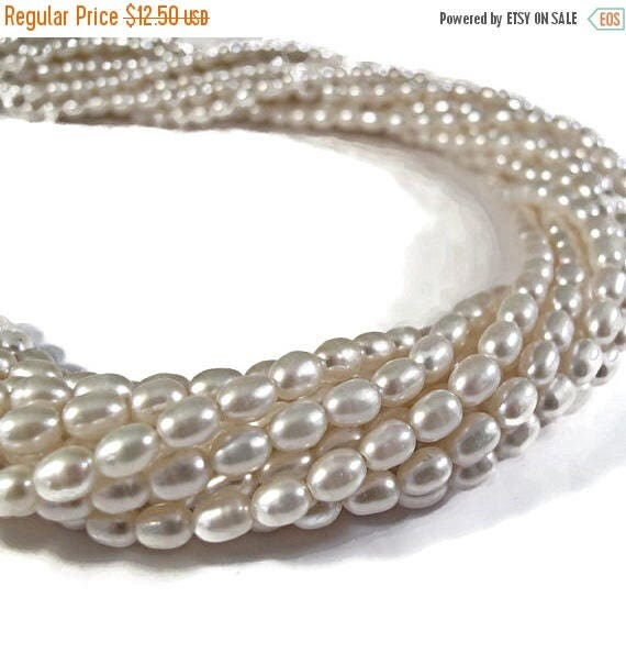 Summer SALEabration - White Rice Pearls, Natural Freshwater Rice Pearls, Classic White Pearls, 15.5 Inch Strand, 7x5mm, Jewelry Supplies, 60