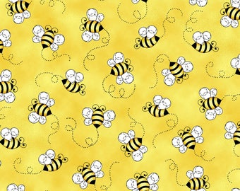 NEW Sunshine Kisses by Studio E - Bumble Bees in Sunshine Yellow, yard