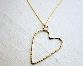 Floating Heart Pendant - Handmade Hammered 14k Gold Filled Heart Necklace