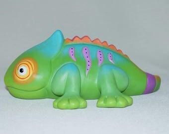 Chameleon - Ceramic Yard Art - Color Changing Lizard - Ceramic Chameleon - Chameleon Sculpture - Figurine - Desert Decor - Reptile Art
