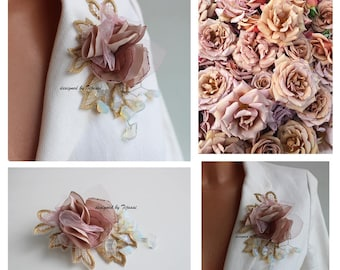 Pink/beige floral composition-pin-brooch-women accessory, fiber jewelry