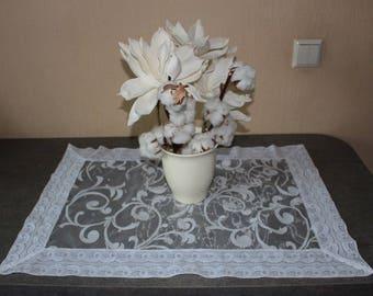 "SALE-White wedding decorative  table cloth  27""x 19"", ready to ship"